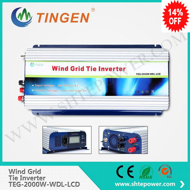 Dc input 45-90v 2000w 2kw grid tie windmill turbine inverter to ac output 190-260v pure sine wave with lcd display