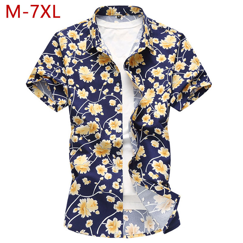 M 7xl Plus Size Fashion Mens Floral Shirts Short Sleeve Male Regular