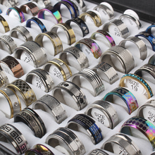 100pcs/box Geometric Design Mixed Styles Stainless Steel Rings Men's Women's Punk Cross Jewelry Masonic finger Rings