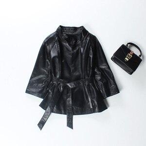 Image 4 - Vermelho jaqueta de couro genuíno feminino plus size real pele carneiro preto rosa roxo casaco de couro feminino outerwear