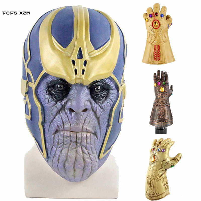 Movie The Avengers Thanos Latex Mask and Gloves Halloween Costume Cosplay Mask Carnival Purim Masquerade masked ball party dress