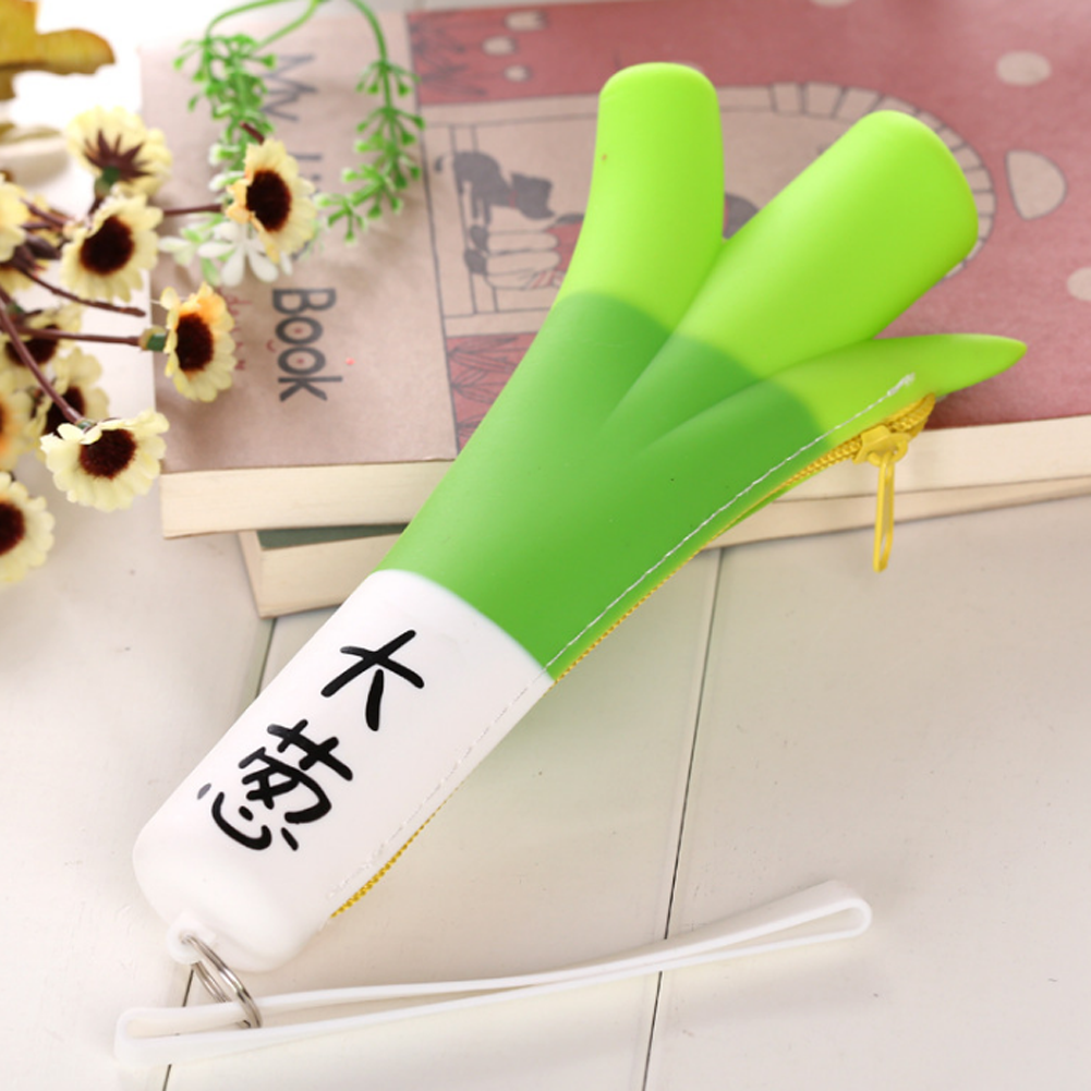 1 Pcs Green Onion Silicone Waterproof Coin Purse Stationery Storage Organizer Bag Girl Purse
