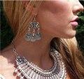 AntiSilver Turkish Coin Drop Earrings Sector design Boho Gypsy Beachy Ethnic Tribal Festival Jewelry Bohemian Earrings