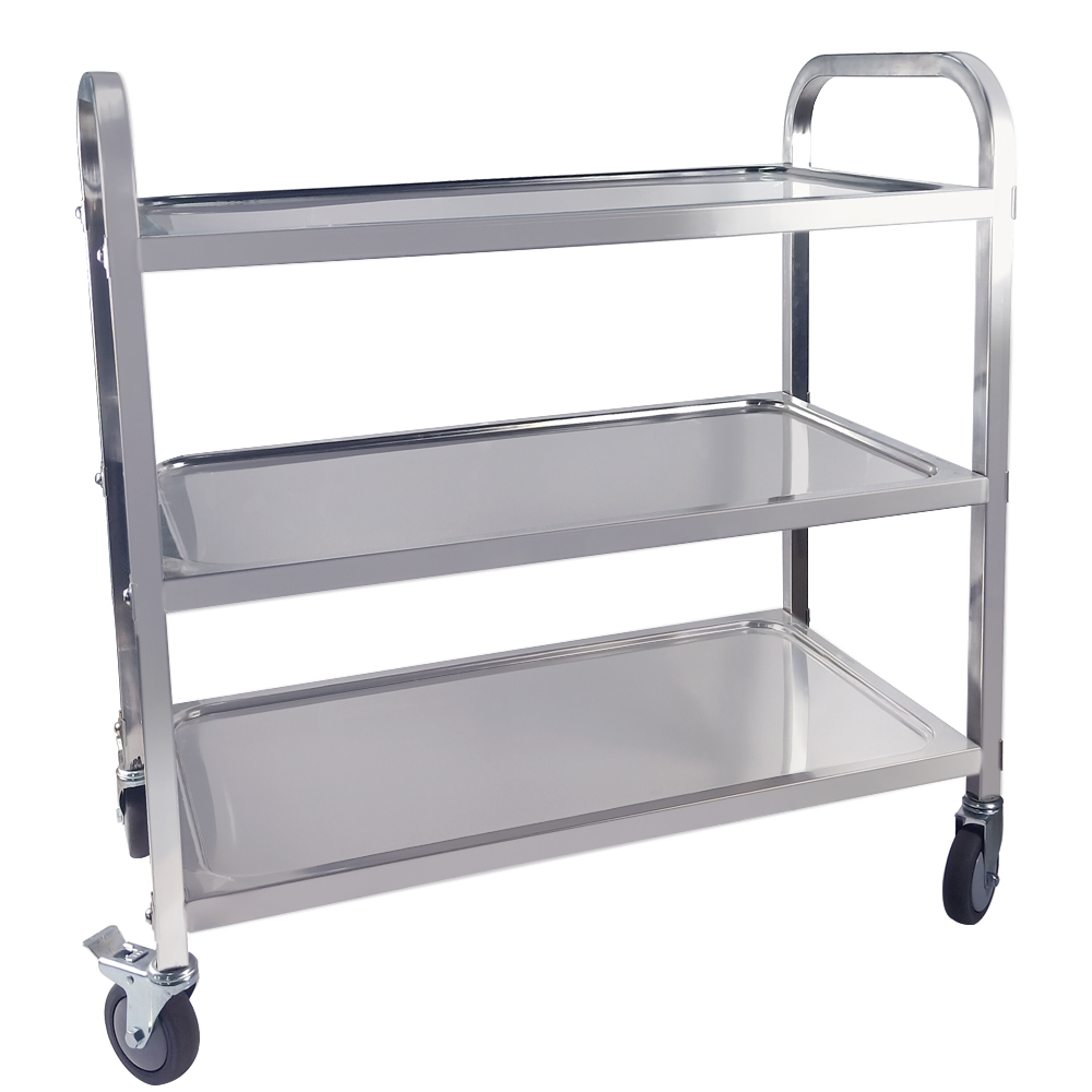 US $65.0 |Stainless Steel 3 Tier Trolley Cart with TPR Mute Wheel Large  Kitchen Shelf Trolley for Catering Hotel Restaurant Bearing 100kg-in  Kitchen ...