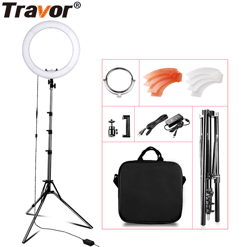 "Travor Studio Dimmable 18"" 55W 5500K LED Camera Mirror Video Ring Light Kit with 2M Stand Color Filer and Carry Bag for Makeup"