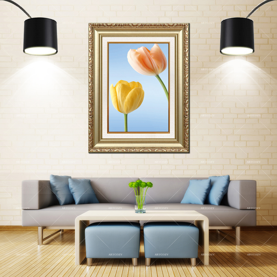Artcozy Golden Frame Abstract sprengers tulip Waterproof Canvas PaintingArtcozy Golden Frame Abstract sprengers tulip Waterproof Canvas Painting