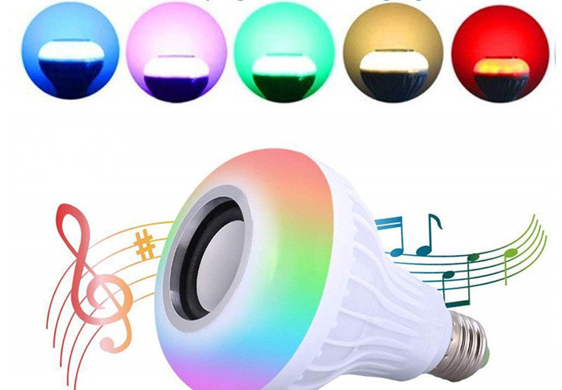 E27 Wireless Bluetooth Speaker 12W RGB Bulb LED Lamp 110V 220V Smart Led Light Music Player Audio with Remote Control in Combination Speakers from Consumer Electronics