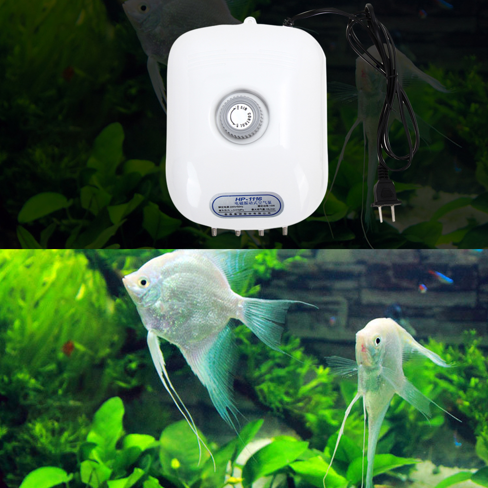 Super Silent & Quiet Outlet Air Pump, Pump Air Compressor For Aquarium With Pipe Tube Air Stone Aquarium Accessories