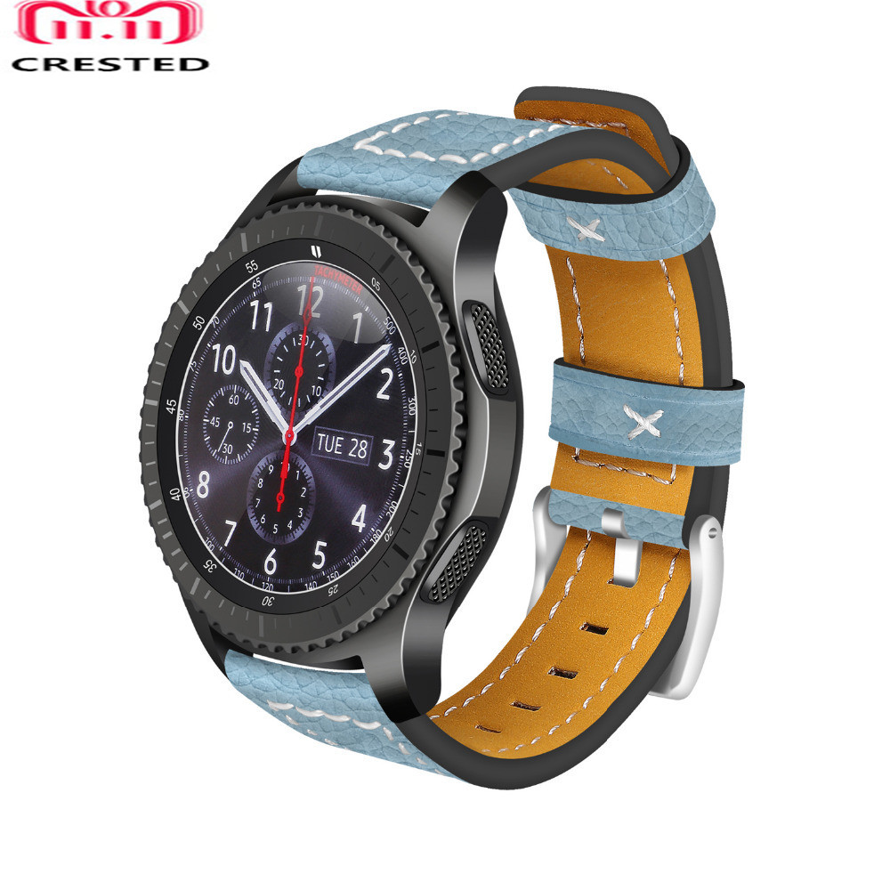 CRESTED Watch Strap For Samsung Gear S3 frontier/classic band 22mm Genuine Leather wrist bands bracelet watchband belt томас майн рид огненная земля