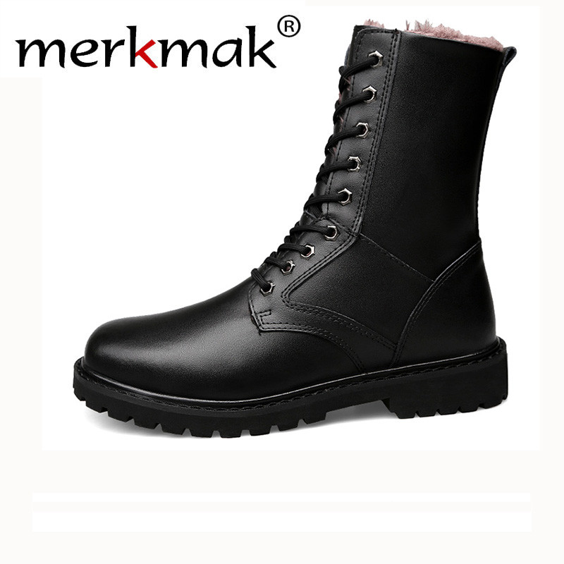 Merkmak Genuine Leather Snow Boots Autumn & Winter Military Boot Plush Outdoor Casual Mens High Boots Footwear Lace up FlatsMerkmak Genuine Leather Snow Boots Autumn & Winter Military Boot Plush Outdoor Casual Mens High Boots Footwear Lace up Flats
