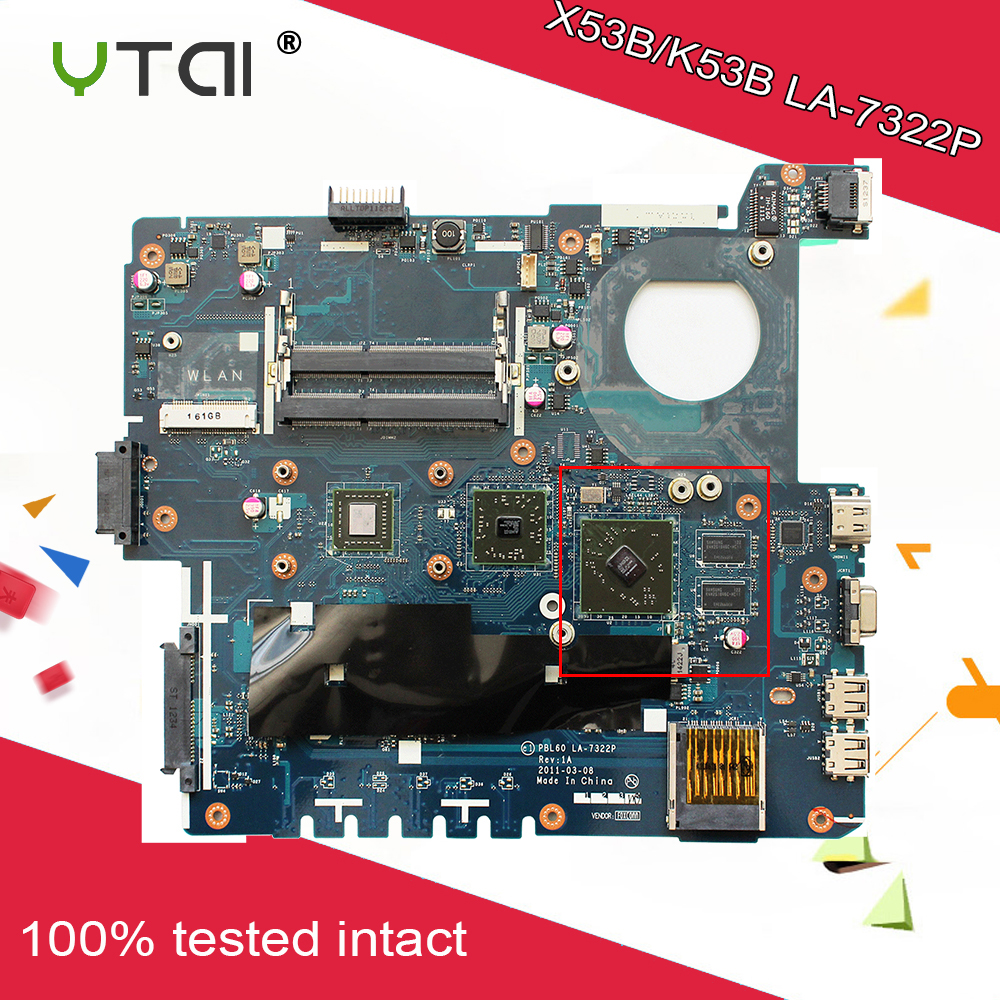 For ASUS K53B/X53B PBL60 LA 7322P Motherboard Onboard For ASUS X53B K53BY K53BR Laptop Motherboard with DDR3 free shipping
