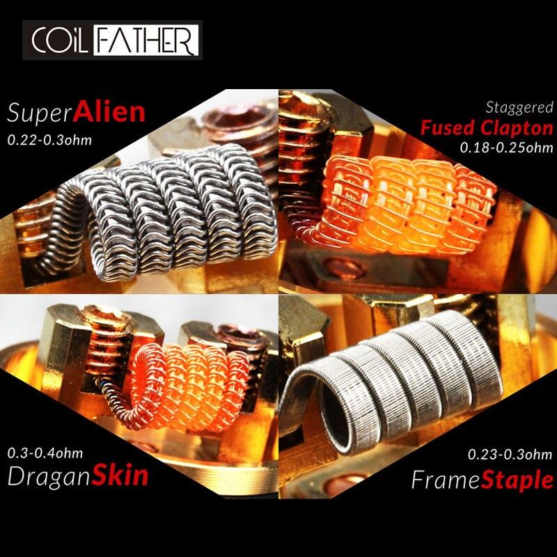 Coil Father Coils & Cottons Mini C&C A1 Ni80 Super Alien Clapton Dragon Skin Frame Staple Organic  Cotton For E Cigarette