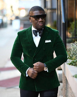 Dark Green Velvet Groom Tuxedos Excellent Groomsmen Blazer Men Formal Suit Party Prom Suit(Jacket+Pants+Bows Tie)