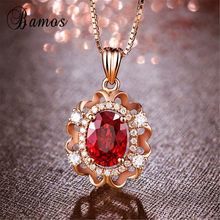 Bamos dainty pedra de cristal vermelho gargantilha colar moda rosa cor de ouro flor colar para as mulheres na moda birthstone jóias