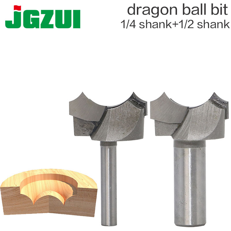 цена на 1/2 1/4 Shank Dragon Ball Bit Point-cut Round Over Groove Bits router bits for wood engraving cutter woodworking