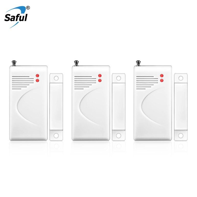 Saful 433 mhz Drahtlose Tür Fenster Sensor Detektor Mit Antenne GSM Sicherheit alarm System ohne batterie China Detektor Lieferant