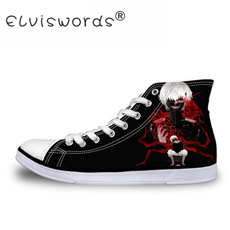 ELVISWORDS Death Notes Print High Top Shoes 3D Cartoon Anmie Men's Canvas Shoes Classic Vulcanized Shoes Lace-up Flats Wholesale