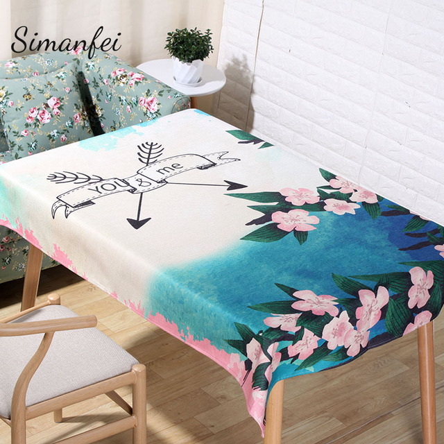 Simanfei TableCloth 2017 New Tropical Style Cotton Linen Rectangular Table  Cloth Kitchen Decorative Flamingo Flowers Table