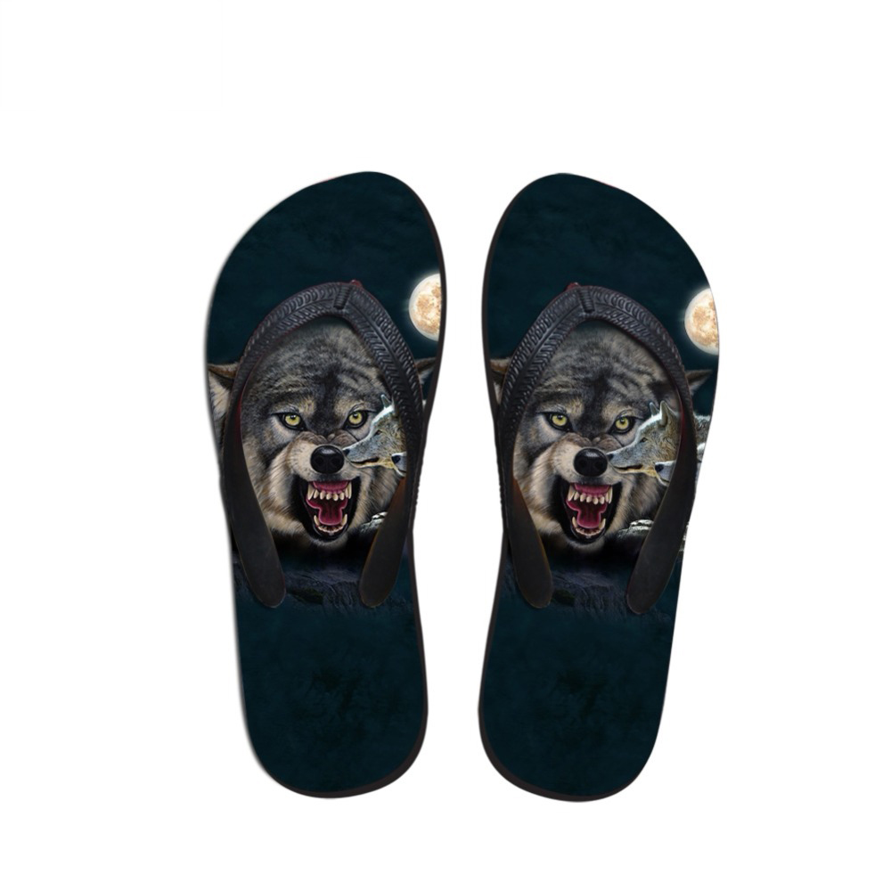 NOISYDESIGNS Animal Wolf Pattern Slippers Men Casual Home Flip Flops Cool Student Slip-on Beach Flat Rubber Sandals Light Shoes