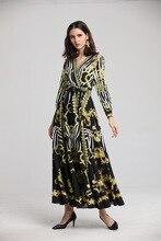 Women V neck long sleeves dress 2019 spring retro print elegant dress Chic party maxi dress D824