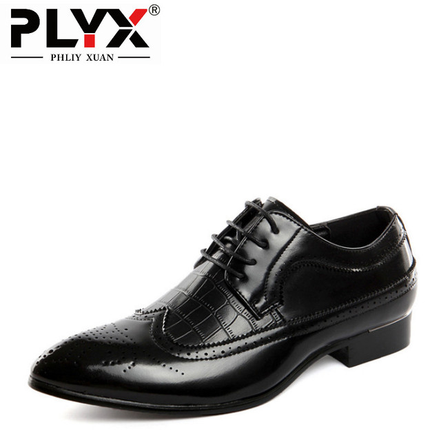 de8867c0ff7b6 PHLIY XUAN New 2018 Fashion Men Wedding Shoes Leather Pointed Toe Brogue  Dress Shoes Chaussure Homme Cuir Big Size 37-48
