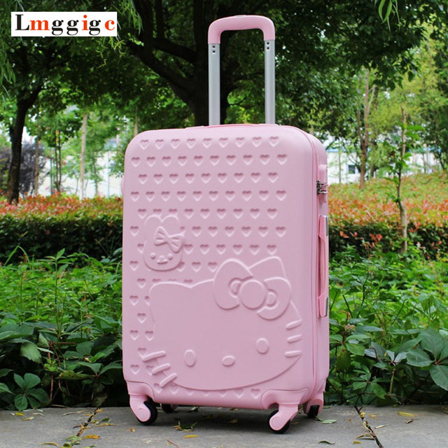 """20""""22""""24""""26""""28"""" inch Hello Kitty Luggage,Spinner wheel ABS Suitcase Trolley,Women and children KT cat Travel Case,password box"""