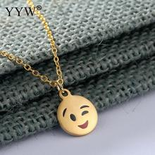YYW Gold Sliver Color Stainless Steel Necklace Women Men Fashion Necklace Pendant Cute Expression Emoji Jewelry Gift 2017(China)