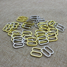 8 shape Metal Alloy Bra Rings Slides and Hooks Findings Kit 15 mm 100 pcs/lot Silver/Golden