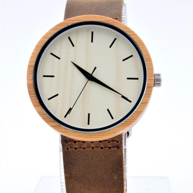 O Transporte da gota Naturais Relógios de Madeira Homens Com Couro Genuíno Amantes de Couro relógio de Pulso de Luxo Mens Relógio De Madeira como Presentes