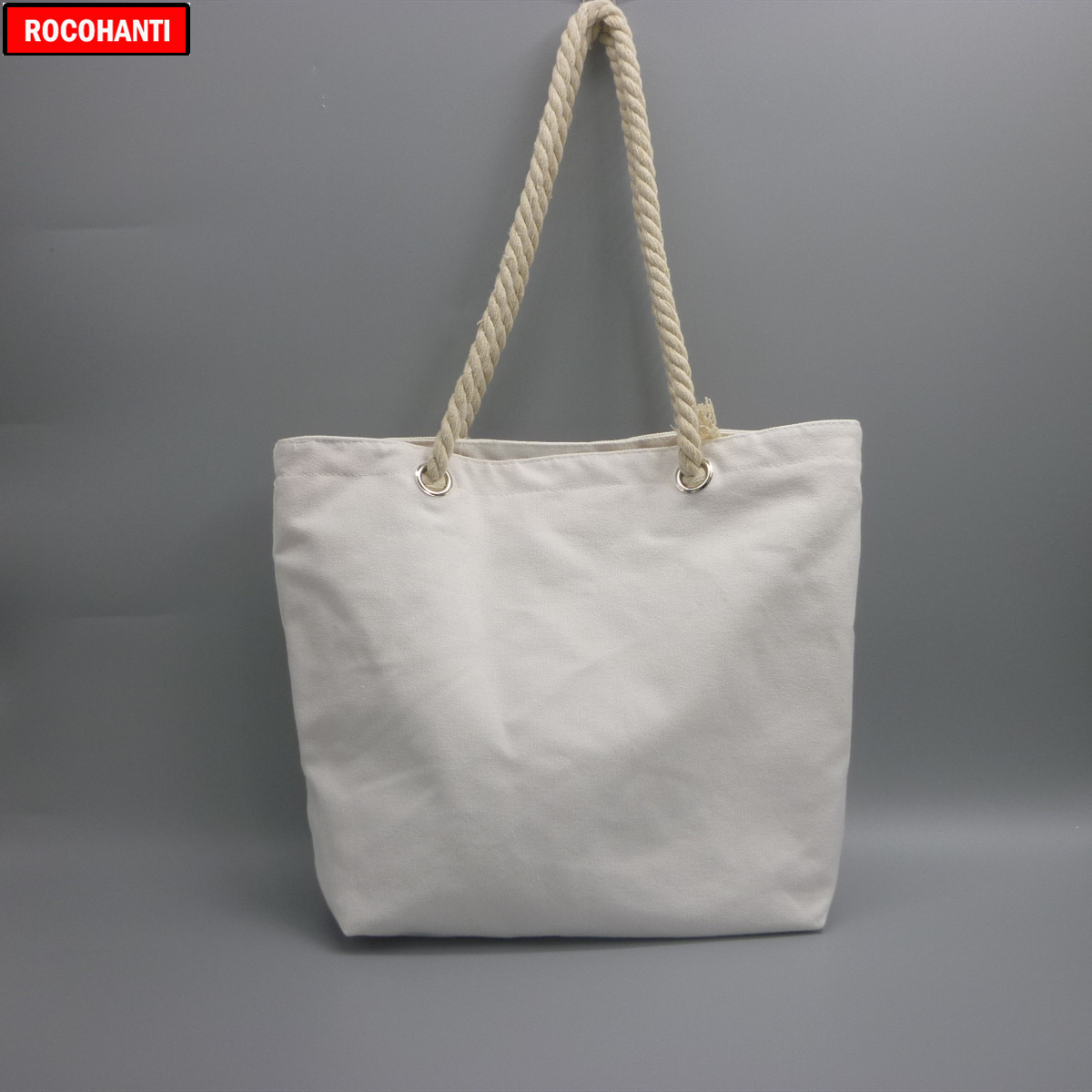10x Blank Natural Cotton Canvas Tote Bags With Zipper Rope Handle For Grocery Shopping , Beach , Customized Logo Printing