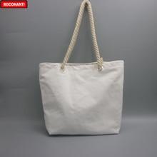 10x puste naturalna bawełna płócienna Tote torby z zamkiem uchwyt do liny do sklepu spożywczego torba na zakupy na plaży