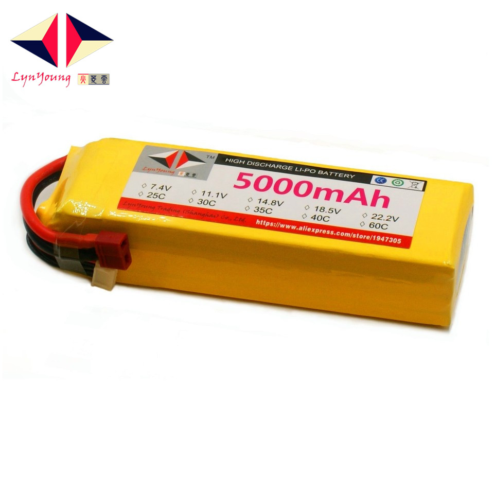 LYNYOUNG <font><b>5S</b></font> <font><b>Lipo</b></font> Battery Rc 18.5V <font><b>5000mAh</b></font> 35C for Drone Airplane Helicopter Car Boat image
