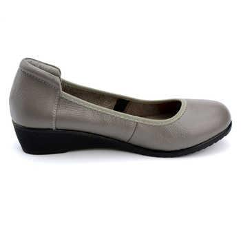 2019 New Fashion Women Handmade Shoes Plus Size Genuine Leather Flat Shoes Wedges Ladies Flats Mom Working Shoes sapato feminino