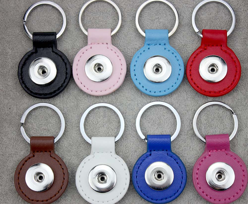 Wholesale 8colors high quality PU leather snaps Key chain buttons Key chain factory snaps buttons fit 20mm snap button for women