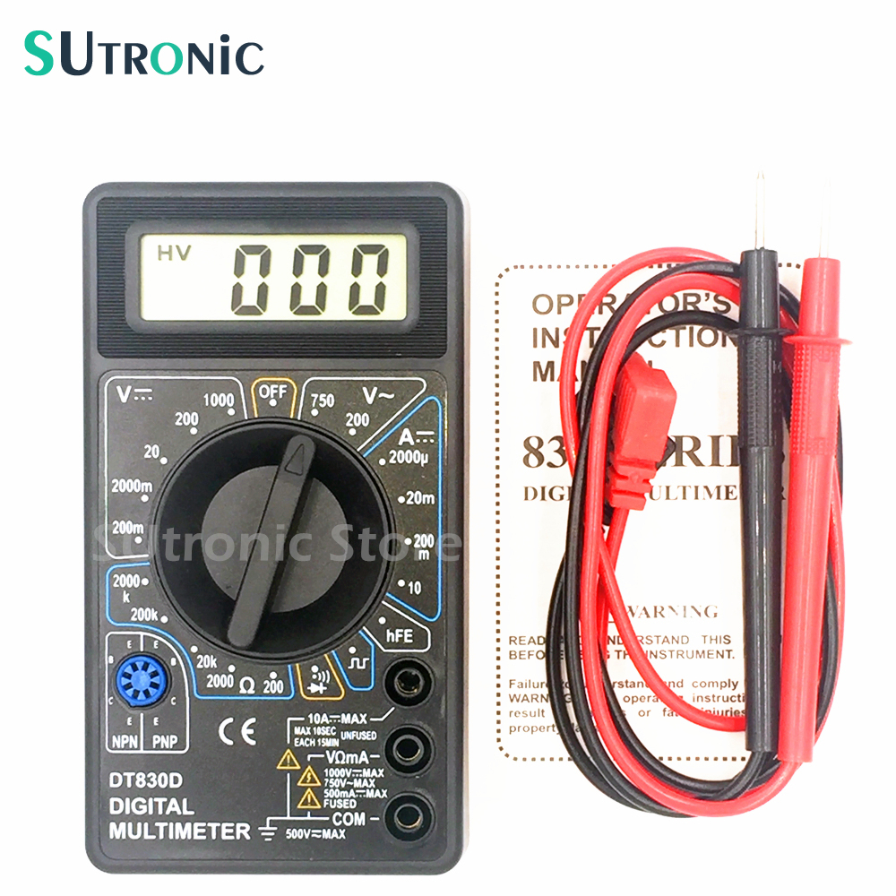 dt 830d - DT-830D Mini Digital Multimeter with Buzzer Overload protection Square Wave Output Voltage Ampere Ohm Tester Probe DC AC LCD