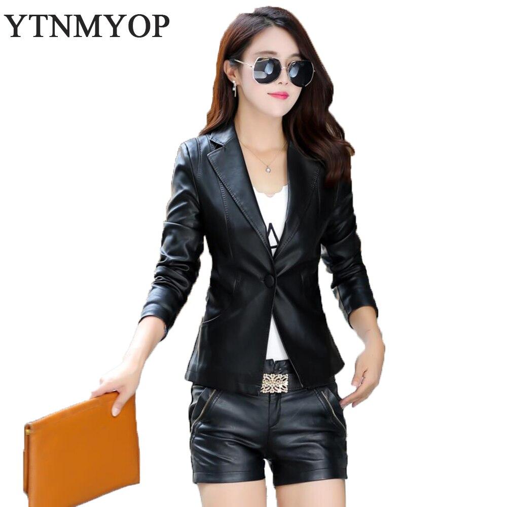 YTNMYOP Black Women   Leather   Jacket 2019 Spring Autumn Short Casual Blazer   Leather   Clothing Plus Size XS-XXL Work To Wear Coat