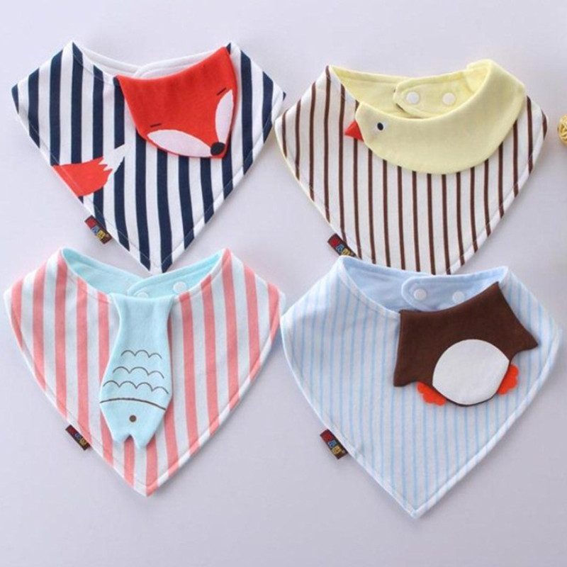 New Style Baby Bibs Bandana Animal Fox Striped Toddler Newborn Triangle Scarf Feeding Cotton Bibs Burp Cloth genuine orangefox pure cotton striped scarf