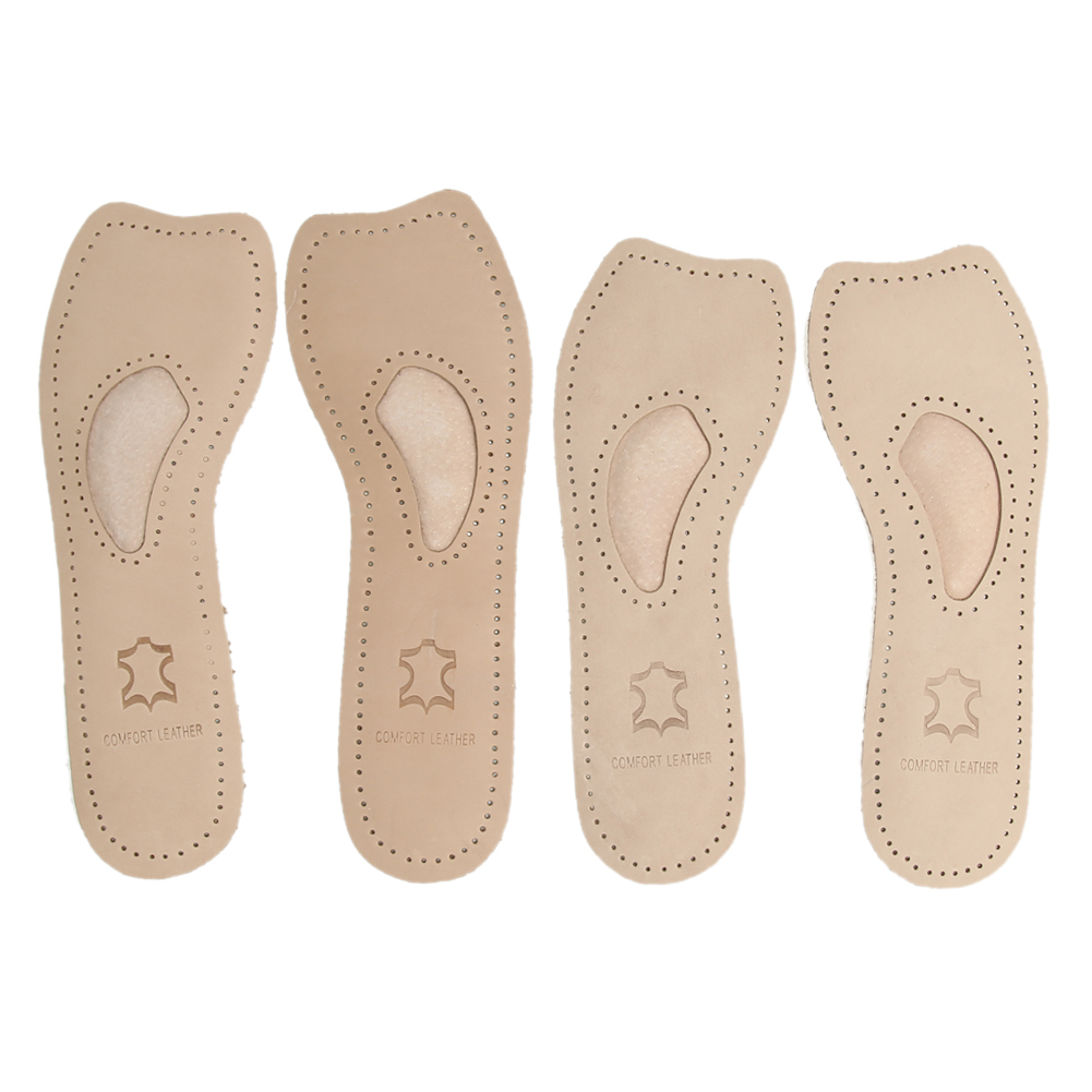 Genuine Women 3/4 Leather orthotics Flat Foot Insole Arch Support Pain Relief Shoes Insert Cushion Pads for High heels boots