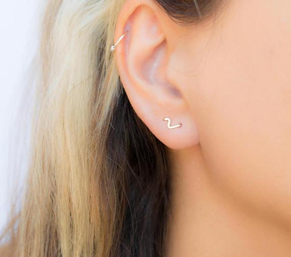 b9a79338c 12pair Wave stud Earring Piercing Double Piercing Flash Earring Minimalist  Jewelry