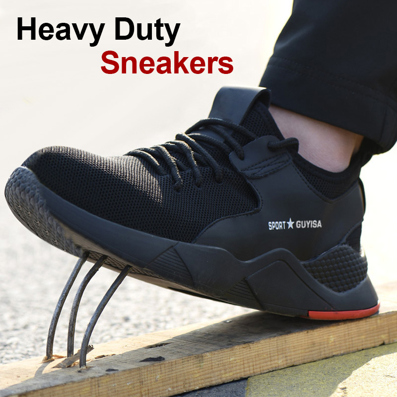 1 Pair Heavy Duty Sneaker Safety Work Shoes Breathable Anti-slip Puncture Proof For Men FH99