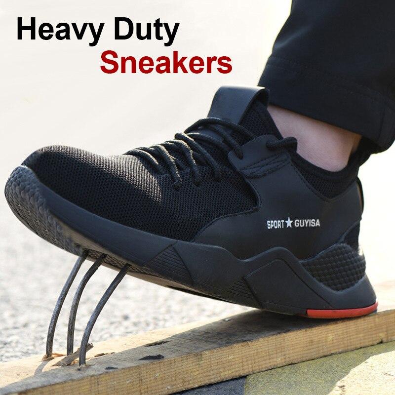 1 par Heavy Duty Sapatilha Sapatos de Trabalho de Segurança Respirável Anti-slip FH99 À Prova de Punção para Homens