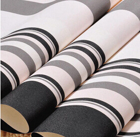 ФОТО Household adornment  modern black white and grey stripe wallpaper Environmental protection non-woven fabric sofa wall stickers