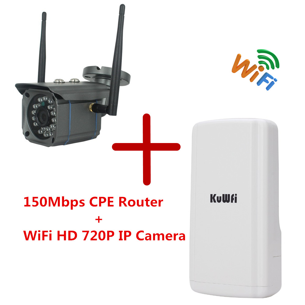1 Set CPE Sans Fil WIFI Routeur WIFI Répéteur Et WiFi HD 720 P Caméra IP Réseau Onvif de Sécurité CCTV Étanche AP Pont routeur