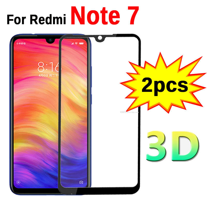 2pc 3D Glass On Redmi Note 7 Protective Tempered Safety Glass For Xiaomi Xiomi Redmi Note 7 Note7 6.3
