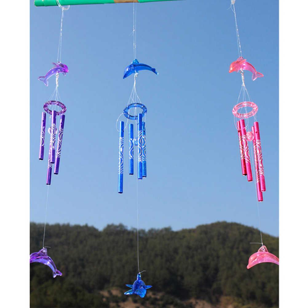 ใหม่ 1PCS คริสตัลคริสตัล Dolphin 4 หลอดโลหะ Wind Chime Home สวนแขวนประดับ 3 สีงานฝีมือตกแต่ง