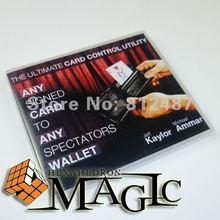 2014hot новый пункт Любая Карта в Кошелек Любой Зритель в-черный цвет ТРЮК улица крупным планом магии карт трюк продукт бесплатно доставка