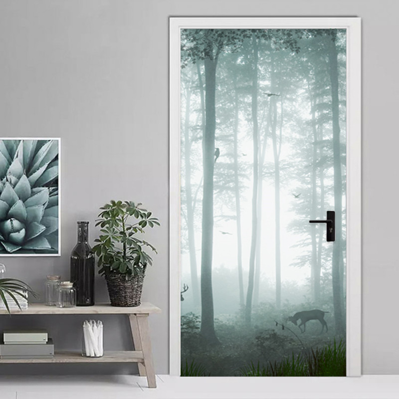 Modern Simple Misty Forest Door Sticker 3D Landscape Wallpaper PVC Self-Adhesive Waterproof Wall Door Decals Living Room Murals