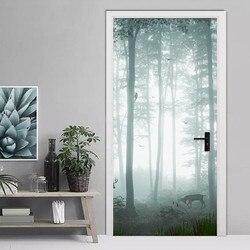 Modern Simple Misty Forest Door Sticker 3D Landscape Wallpaper PVC Self-Adhesive Waterproof Wall Door Decals Living Room Murals
