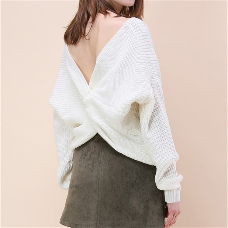 2018 new V Neck Twisted Back Sweater Women Jumpers Pullovers Long Sleeve Knitted sweaters and pullovers ladies