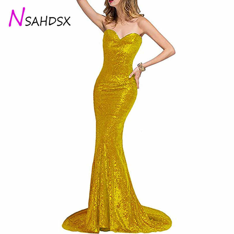 Detail Feedback Questions about Sequin Mermaid Party Evening Dinner Dress  2018 Women New Autumn Dusk Tube Top Sexy Fishtail Dress Plus Size Vestidos  de ... 94afc6192678